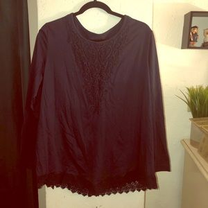 Navy blue xl embroidered Blair top